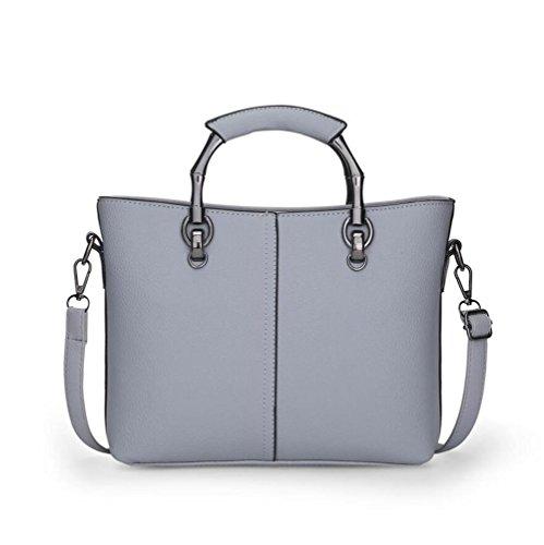 LDMB Damen-handtaschen PU-lederner Geschäftsfrauen-Schulter-Kurier-Beutel-feste Farben-große Kapazitäts-Handtaschen-justierbare Crossbody Beutel-Einkaufstasche Abnehmbare Shell-Beutel gray