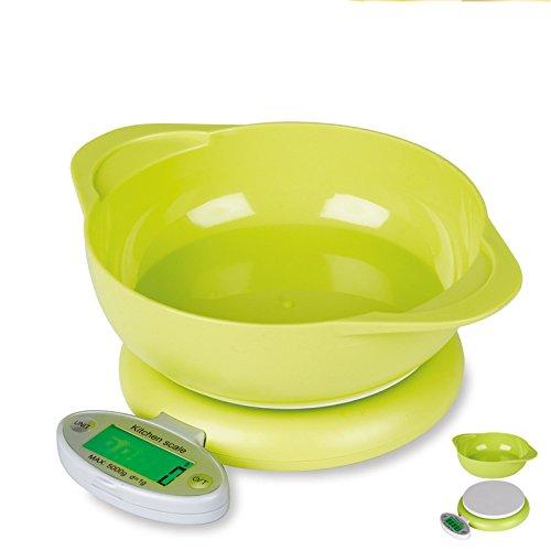WYUE Digitale Multifunktions-Küchenwaage - Schlankes elektronisches Kochgerät für Haushalt/Küche, wiegt Lebensmittel bis zu 5 kg - grün
