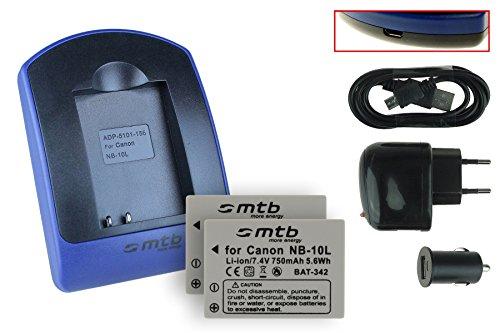 2x Batteria + Caricabatteria (USB/Auto/Corrente) per NB-10L / Canon PowerShot G15, G16, G1 X, G3 X, SX40 HS, SX50 HS, SX60 HS