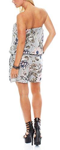 malito Damen Einteiler mit Flower Print | kurzer Overall mit Stoffgürtel | Jumpsuit �?Playsuit �?Romper 8058 Hellgrau