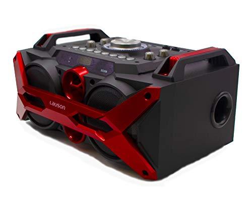 Altavoz Bluetooth Portátil Función de Karaoke. Bluetooth Speaker MP3, USB y Mando a Distancia. Altavoz Efecto de Luces Led Batería Recargable y Radio Integrada - Lauson SS-308