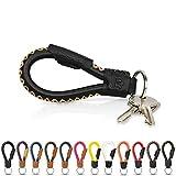 Tumatsch-Leder© Fair-Trade Schlüsselanhänger aus Echt-Leder in Handarbeit hergestellt. Schlüsselband/Lanyard - Bangkok in vielen Farben, Unisex für Damen & Herren (Schwarz & braune Naht)