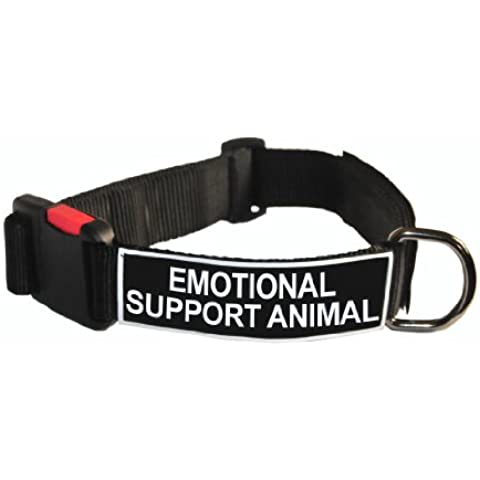 Dean and Tyler Patch Collar, Nylon Dog Collar with EMOTIONAL SUPPORT ANIMAL Patches - Black - Size: Small - Fits Neck 18-Inch to 21-Inch by Dean &