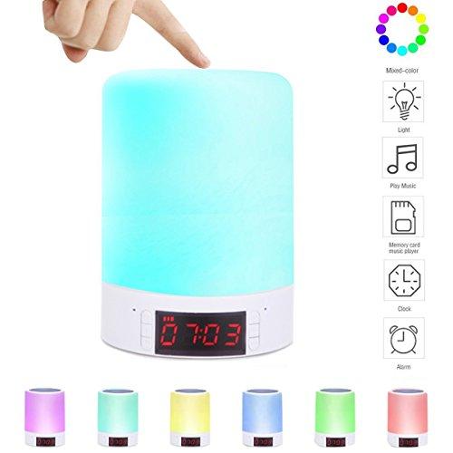 Kainuoa Lichtwecker Bluetoothlautsprecher Nachtischlampe Touch LED Nachtlicht Digitale Wecker Kinderwecker Stimmungslampe Dekolicht