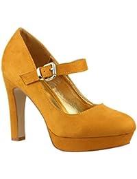 Elara Ndash; Zapatos de TACón Alto con Correa EN el Empeine, cóModos   chunkyrayan
