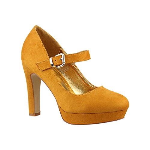 Elara Damen High Heels | Bequeme Spangen Pumps | Riemchen Stilettos | Chunkyrayan E22317 Yellow-40