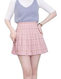Jixin4you Jupe Courte Eté Femme Fille Taille Haute Carreaux Plissée Collège Baseball Anniversaire