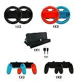 KEESIN 10 in 1 Nintendo Switch Zubehör Sets, 4x Joy Con Griffe Griff und 4x Joy-Con Lenkrad für Joy-Con Controller, 1x Ladestation Ständer mit 1x Typ C Kabel für Nintendo Switch