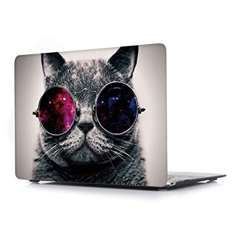 L2W Hülle Für Apple MacBook Air (Old) 13,3 Zoll Modell A1466/A1369 Laptop Computer Zubehör Plastik Drucken Schutz Cover kreatives Design Hart Case Tasche,Brille Katze