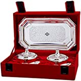 IndianArtVilla Silver Plated Beetel Bowl With Spoon & Tray, Tableware Serveware Decorative Diwali Gift Set, Pack Of 5…
