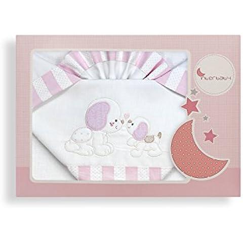 Sabanas 100% Algodón CUNA 60X120 - Perrito Amoroso Blanco/Rosa (bajera+encimera+funda almohada)
