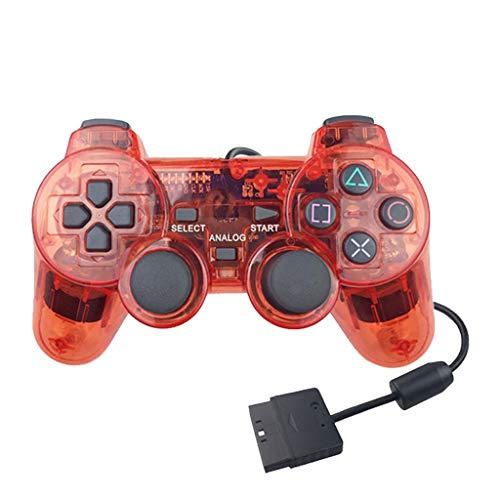 Gamepad für Sony PS2 Controller für Playstation 2 Konsole Joystick Double Vibration Shock Joypad Controller Ersatz rot