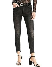 e4184d8fa34d ZhiYuanAN Donna Chic Distressed Pantaloni Casual Skinny Dritti In Jeans  Moda Pantaloni In Denim Carrot