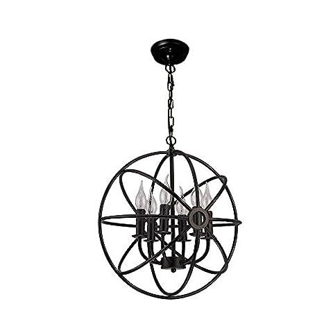 Retro Einfach 6 leuchten Leuchter Kerzenlicht Metall Globus Gestalten Schwarz Eisen Fertig Pendelleuchte Deckenbefestigung