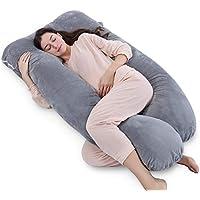 QUEEN ROSE Oreiller de grossesse, oreiller de corps avec la couverture remplaçable et lavable (140_x_78_cm, Peluche, Gris)