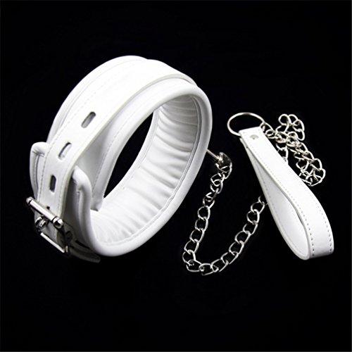 Hanyi Weiß SM Halsband Erotik Einstellbar Gepolstert Leder Halsbänder Fetisch Sex-Spielzeug