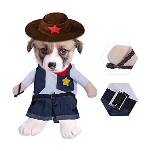 ze Kostüm Funny Fancy Pet Cowboys Kostüm Jacke Party Pet Kleidung für Katze Hund mit Hut Kleid up Dog Apparel Katze Kostüme Coat, L ()