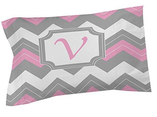 Ikat-sham (Manuelle holzverarbeiter & Weavers Kissen Sham, Standard, Monogramm Buchstabe V, Pink Chevron)