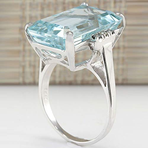 kemai Simulierter Aquamarin Ring Verlobungsring Ehering Luxus Edelstein Ringschmuck, 9