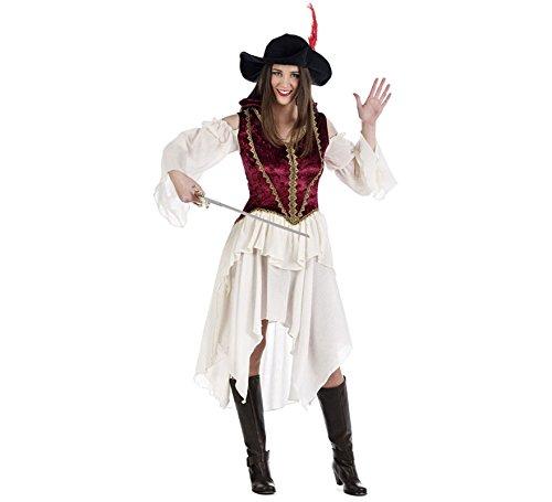 Elbenwald Lady Musketier Kostüm Damen 2 TLG. Kleid mit Hut zu Karneval und Fasching - S