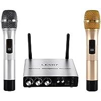 LESHP Micrófono Inalámbrico VHF Profesioanl Equipo de Karaoke 2 Micrófonos Inalámbricos 1 Receptor con 2 Microfónos Inalámbricos Canales Duales Receptor 2 Inalámbricos Karaoke Micrófonos (S1)