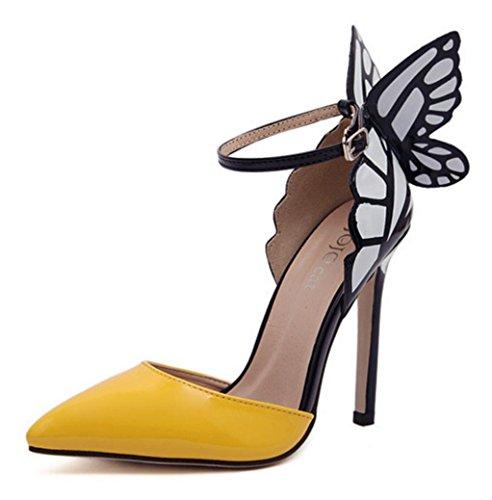 HYLM I nuovi sandali femminili di adattano a pattini del vestito dal vestito da cerimonia nuziale degli alti talloni delle ali di farfalla Yellow