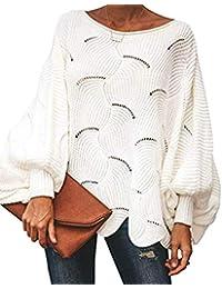 ZIYYOOHY Damen Pullover Oversize Knitted Rundhals Lose Pulli Strickpullover Outwear