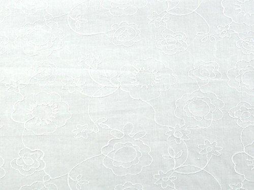 Floral bestickt Baumwolle Voile Kleid Stoff Weiß-Meterware - Bestickte Baumwolle Batist