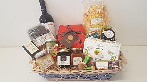 Cesto natalizio in vimini sicilia con 15 prodotti tipici siciliani, idea natalizia