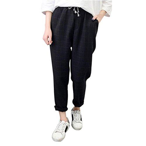 Plaid-wolle-hosen (Hosen Damen Sommer,Palazzo Frauen Casual Plaid Elastische Taille Lace up Lose Plus Size Full Length Pants (Schwarz, M))