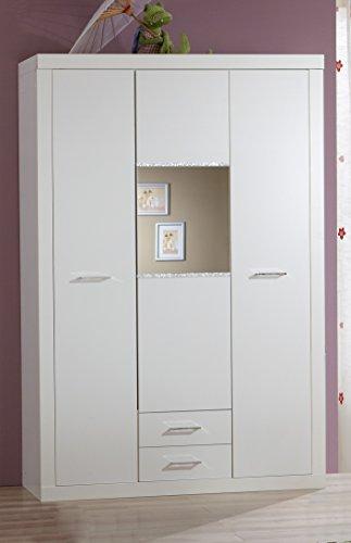Wimex Babyzimmer Nightlight 3-teilig mit Kleiderschrank 3-türig (B/H/T) 135 x 198 x 58 cm, Babybett  Liegefläche 70 x 140 cm, Wickelkommode (B/H/T) 122 x 107 x 71 cm, Alpinweiß