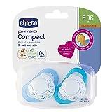 Chicco Physio Compact - Pack de 2 chupetes de látex/caucho para 6-16 meses, color azul