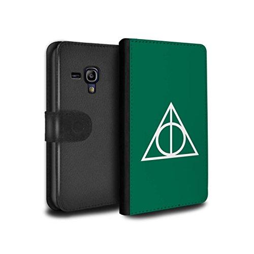 Stuff4® PU-Leder Hülle/Case/Tasche/Cover für Samsung Galaxy S3 Mini/Grün Muster/Heiligtümer Todes Inspiriert Kollektion