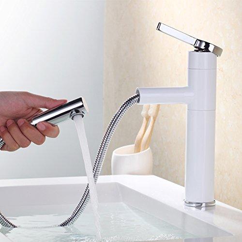 Homelody - Waschtisch-Einhebelarmatur, Schwenkauslauf 360°, herausziehbarer Brausekopf, Weiß-Chrom