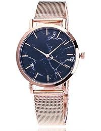 GBVFCDRT Moda de Plata y Banda de Malla Dorada Reloj de Pulsera de mármol  Creativo Casual Mujeres Relojes de Cuarzo de Regalo Relogio… 5c7aa5ca913f
