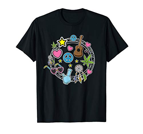 Und Shirt Kostüm Liebe Frieden - Hippie Kostüm für Paare Freiheit Liebe Blumenkind Frieden T-Shirt