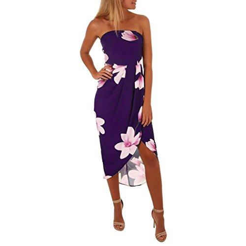 Tuniken Streetwear Bluse,Damen Weg von der Schulter Boho Kleid Lady Beach Sommer Sommerkleid Maxikleid (Lila, XXL)
