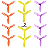 DALPROP Crystal Tri-Blade High-Speed Propeller 3 Leaf Props T5045 Mega-Pack 6Pairs/12pieces(6CW/6CCW) for Drone Quadcopter FPV RC Racing(Yellow/Orange/Purple)