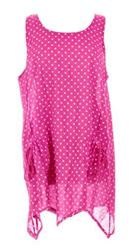 Mesdames Womens Lagenlook italienne excentrique superposition Polka Dot robe plaine haussement d'épaules Twin Set robe taille UK 10-14 Cerise Rose