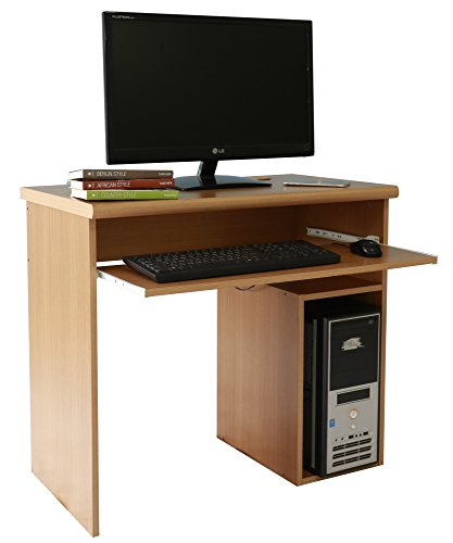 Computer Schreibtisch PC Tisch Home Office Schreibtisch mit Tastaturablage (Buche oder braun) beech