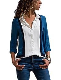 Aleumdr Mujer Blusa Cuello En V Camiseta de Mangas Largas Camisa con Botones Size S-