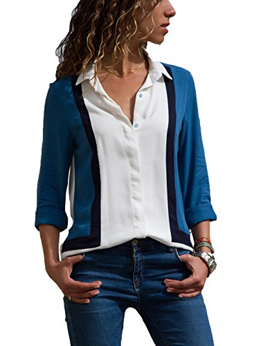 Dokotoo Chemisier Femme Blouse Manches Longues Chemise...
