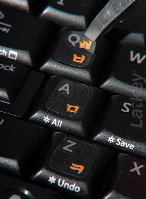 Pegatinas teclado coreano (Hangul) para PC, ordenador portátil, teclados de ordenador (fondo transparente, letras rojas en claros Etiquetas)
