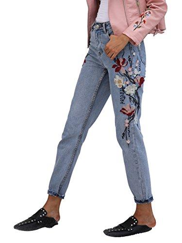 Simplee Apparel Damen Elegant Jeans Skinny High Waist Blumen Stickerei Denim Jeanshosen Pants Blau (Jeans-tag Damen)