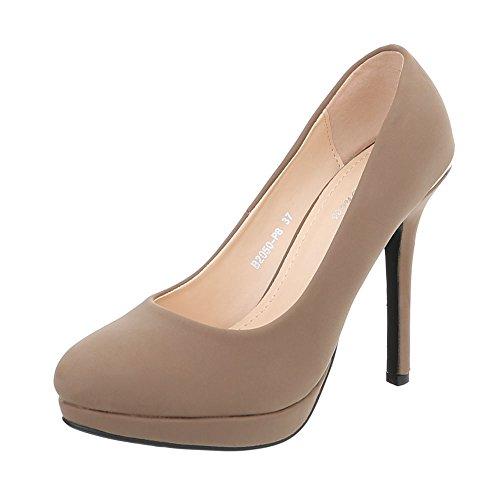 Ital-Design High Heel Pumps Damen-Schuhe High Heel Pumps Pfennig-/Stilettoabsatz High Heels Pumps Hellbraun, Gr 39, B2050-Pb-