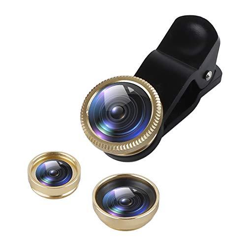 OCJEDEEE 3 in 1 Telefon Fisheye-Objektiv, 180-Grad-Fischaugen-Objektiv + 0.67X Weitwinkel + 10X Makro-Objektiv für Smartphones