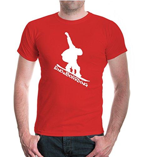 T-Shirt Snowboarding-XXXL-Red-White -