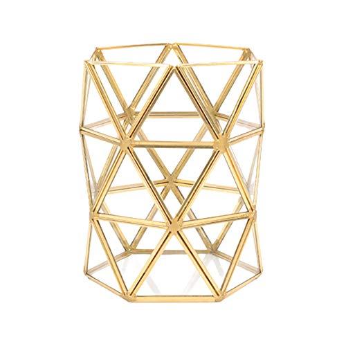 DaoRier Schreibtisch Organizer Geometrie Gold Make-up Pinselhalter Bleistifthalter Blumenarrangement Vase mit Glas