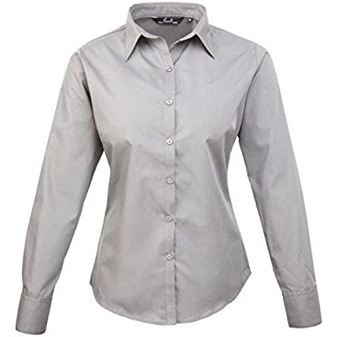 Premier Workwear Ladies Poplin Long Sleeve Blouse, Camicia Donna