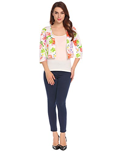 Damenjacke Elegant Mode Kurz Kragenlos kurzblazer Kurzjacke Bolero Jacke mit 3/4 Ärmel (XL, weiß)